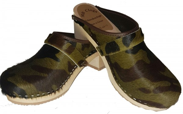 Damenclogs in Fell Camouflage Gr. 38