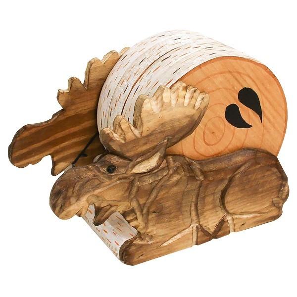 Holzuntersetzer Set Elch