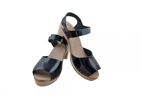 Sandalette Lackleder schwarz Gr. 37