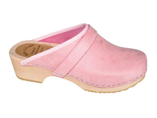 Nubuklederclogs rosa