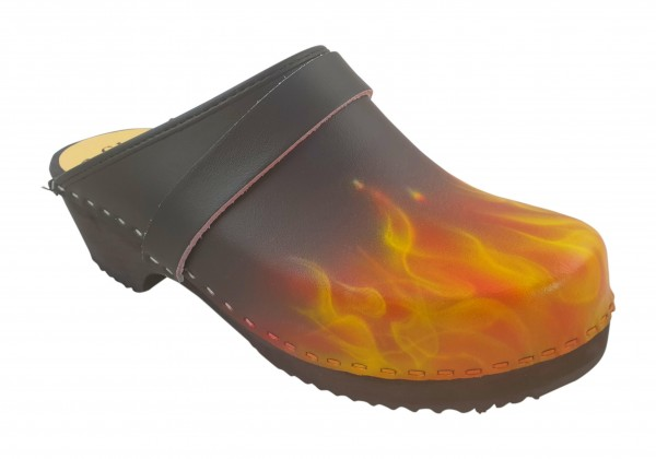 MB Clogs, Standardclogs airbrush schwarz mit Flammen