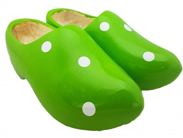 Holländische Clogs grün gepunktet