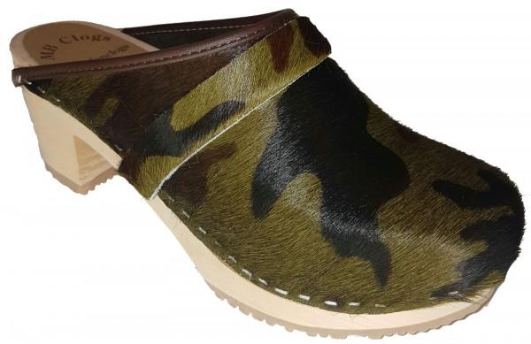 Original Schwedenclogs Damenclogs Fell in Camouflage Optik