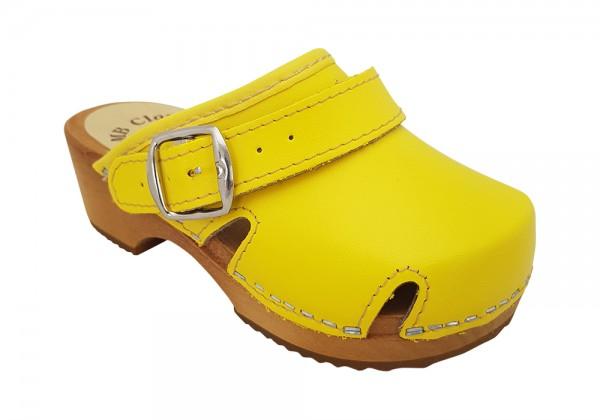 Kinderclogs, MB Clogs gelb mit Fersenriemen klappbar