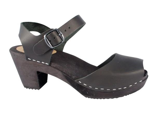 Clogs Sandalette Fettleder schwarz