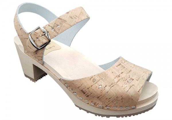 Sandalette Damen, Kork in Naturoptik mit Silber
