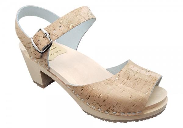 Sandalette Damen, Kork in Naturoptik mit Gold