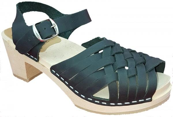 Original Schwedenclogs Sandalette schwarz geflochten
