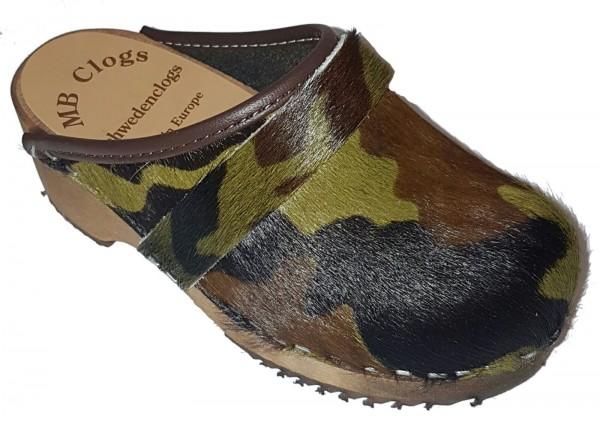 Original Schwedenclogs Fellclogs für Kids in Camouflage Optik