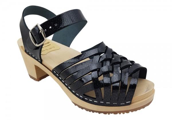 Sandalette geflochten in Lackleder schwarz mit Kristall Effekt