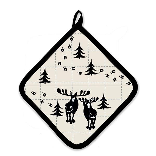 Topflappen Moose mit Spuren