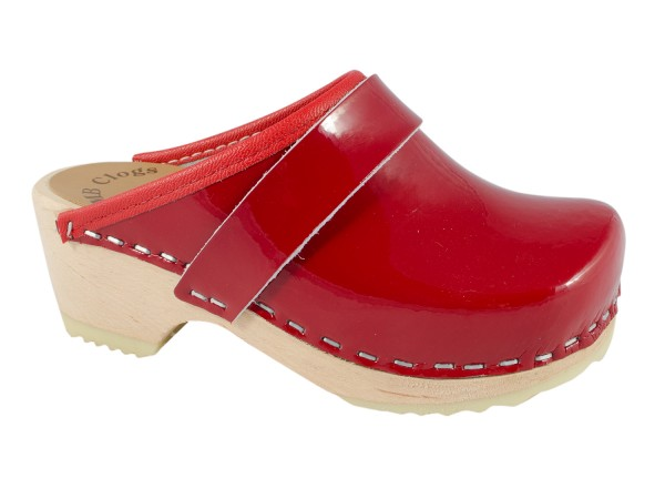 Kinderclogs in Lackleder rot