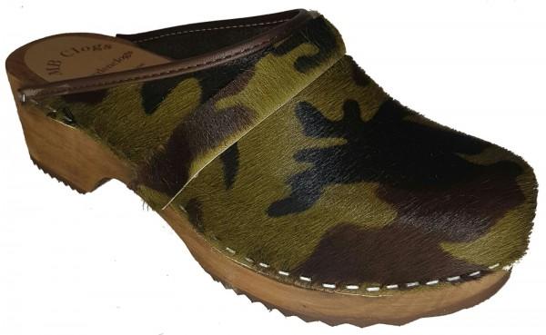 Original Schwedenclogs Herrenclogs Damenclogs Fellclogs in Camouflage Optik mit brauner Sohle
