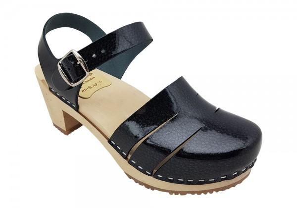 Sandaletten, Lacklederclogs schwarz mit Kritstall Effekt