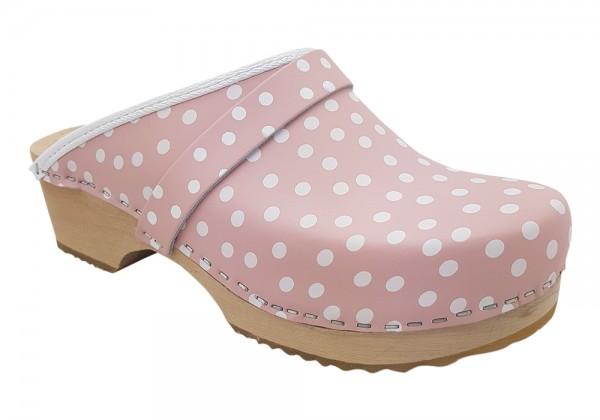 Standardclogs rosa mit weißen Punkten